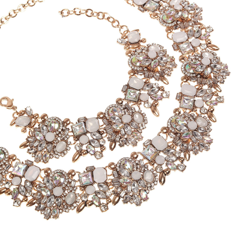 Holylove Chunky Crystal Necklace for Women Fashion Necklace Bracelet White 1 Set Retro Style Gift Box-8041SW3PCS by Holylove (Image #6)