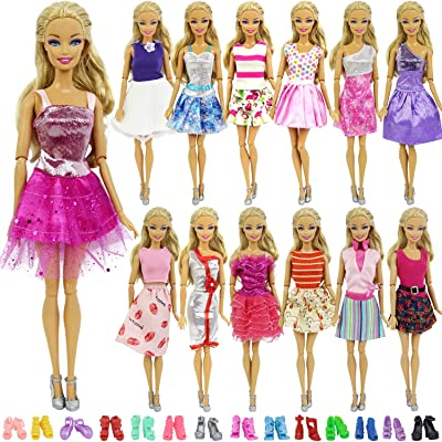 ZITA ELEMENT Lot 15 Items 11.5 Inch Girl Doll Clothes Outfits = 5 Pcs Casual Wear Party Dress and 10 Shoes, Fashion Handmade Doll Clothes Dress Shoes for 11.5 Inch Doll Xmas Gift: Toys & Games