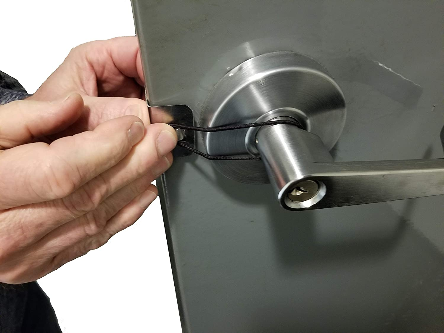 Set of 2 Stainless Steel Door Latch Blockers - Commerical Doors 1 3/4 inch Thick for Hands-Free Opening - Made in The USA