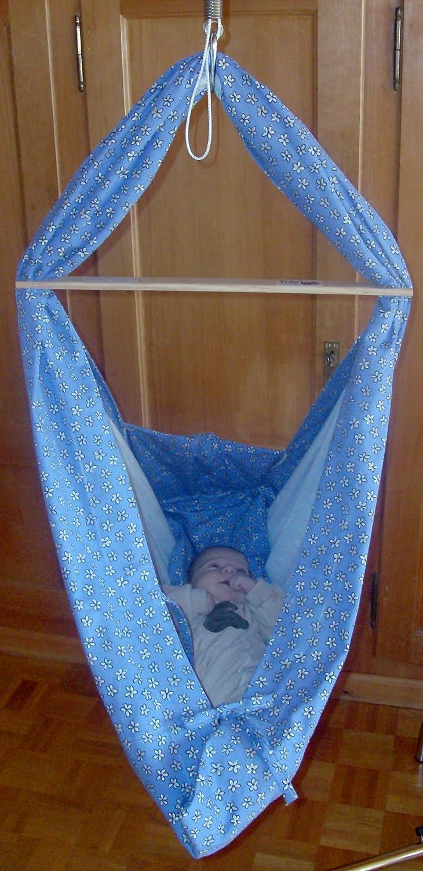 Dondolo-Baby-H/ängematte Blumenwiese blau Federwiege