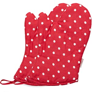 NEOVIVA Kids Oven Mitts for Pretend Kitchen, Cotton Quilted Oven Mitt Set of 2 for Children, Polka Dots Lollipop Red