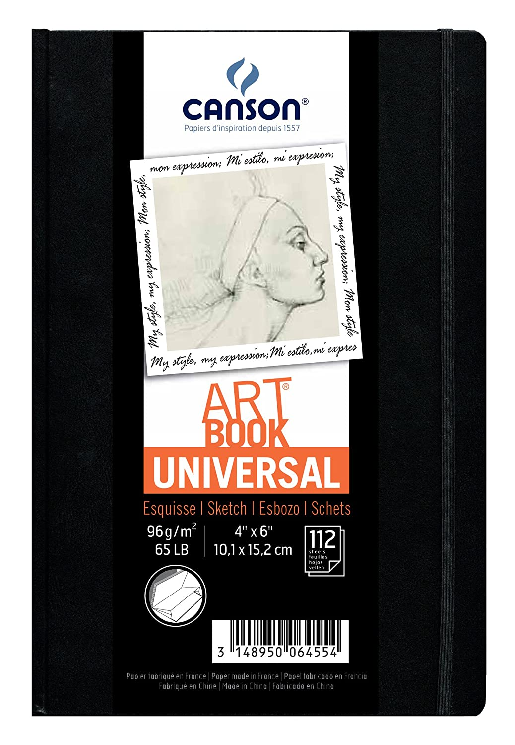 Canson Universal Art Book, Blank Acid Free Paper with Pocket, Elastic Closure and Stitch Binding, Hardbound, 65 Pound, 4 x 6 Inch, 112 Sheets Canson Inc. 200006455