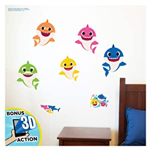 Baby Shark Family Wall Decals - Baby Shark Wall Decals with 3D Augmented Reality Interaction - Baby Shark Room Decor