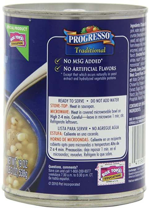 Amazon.com : Progresso Traditional Soup, Chickarina (Chicken Soup with Meatballs), 19-Ounce (Pack of 6) : Grocery & Gourmet Food