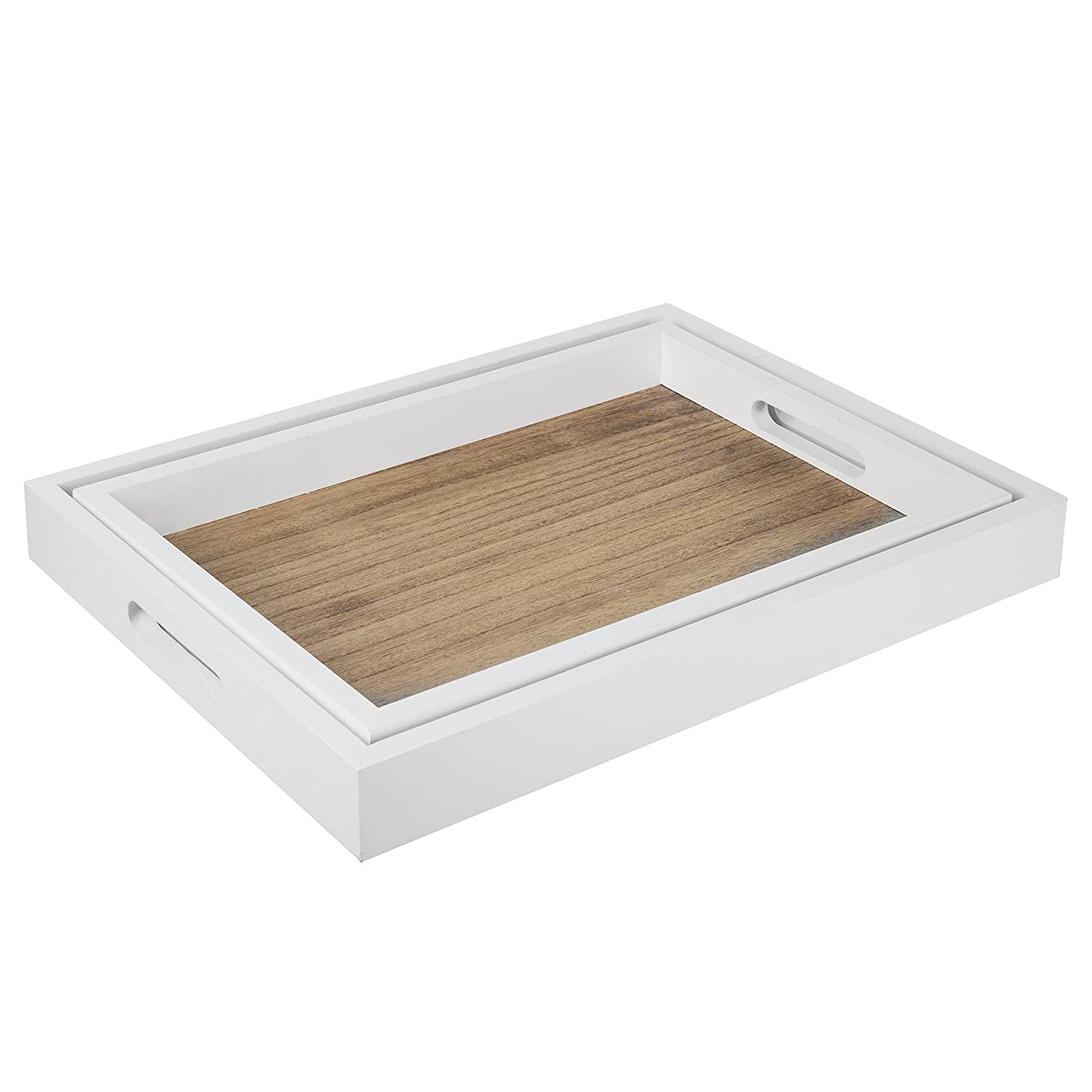 Set of 2 Brown//White MyGift Decorative Natural Wood Nesting Breakfast Serving Tray with Cutout Handles