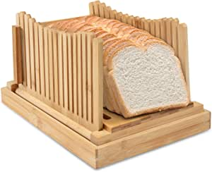 Ivation Folding Bread Slicer | Collapsible, Easy to Use Cutting Guide w/Detachable Crumb Catcher & Serving Tray | Accurately Slice Bakery-Fresh & Homemade Bread with Ease