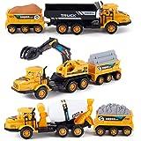 Set of 3 Deluxe Construction Toy Vehicles Playset - Dump Truck, Cement Truck, Excavator