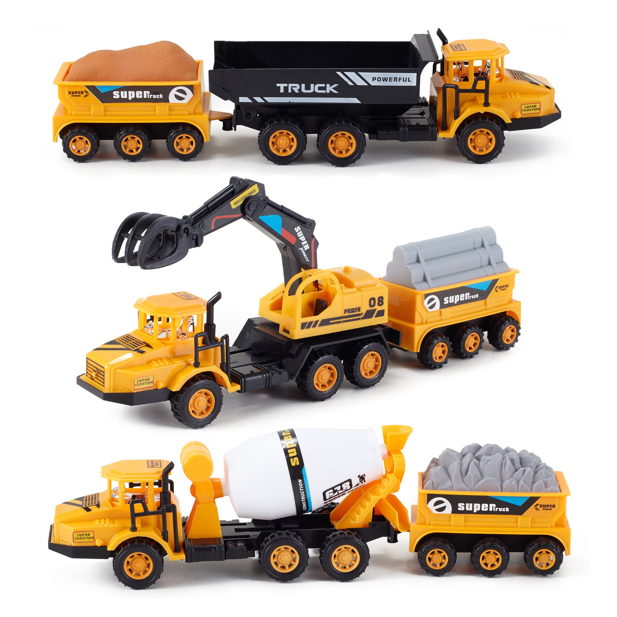 Liberty Imports Set of 3 Deluxe Construction Toy Vehicles Playset - Dump Truck, Cement Truck, Excavator