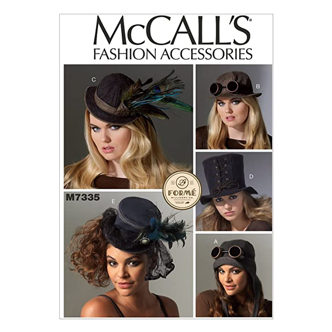 Steampunk Sewing Patterns- Dresses, Coats, Plus Sizes, Men's Patterns McCalls Patterns M7335 Hats in Five Styles $12.00 AT vintagedancer.com