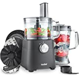 VonShef 750W Food Processor – Compact Food Processor, Blender, Chopper, Juicer, Multi Mixer with Dough Blade, Shredder & Grater Attachment - 2L Mixing Bowl & 1.8L Jug