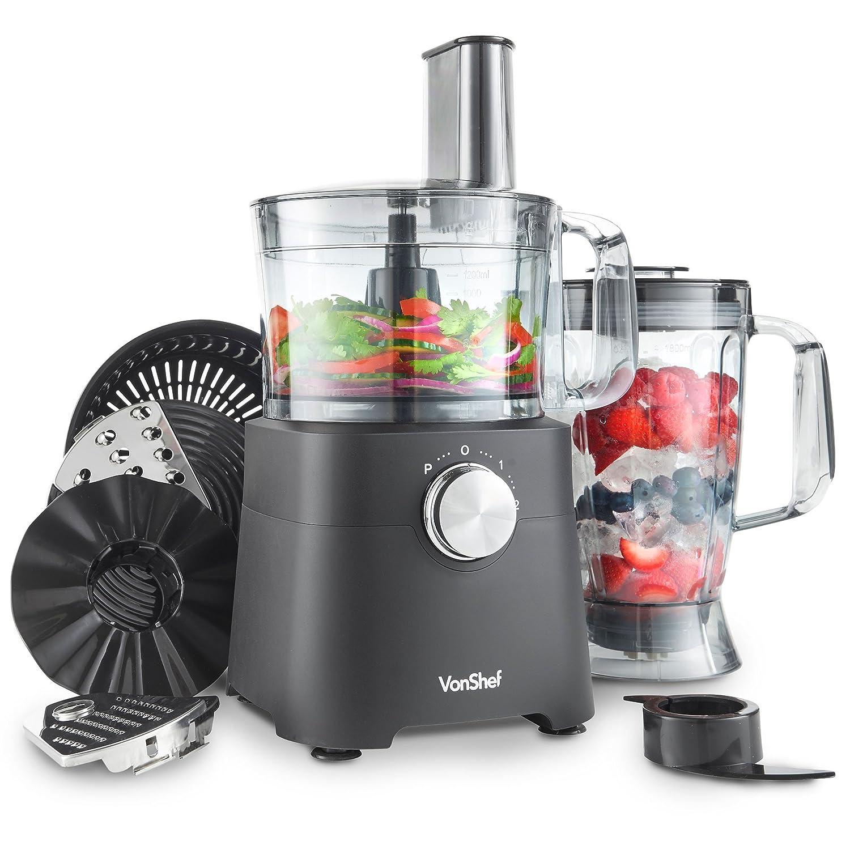 VonShef Robot da Cucina 750 W – Frullatore, tritatutto, spremiagrumi, mixer multi combo con lama per impastare, tritacarne e accessorio grattugia