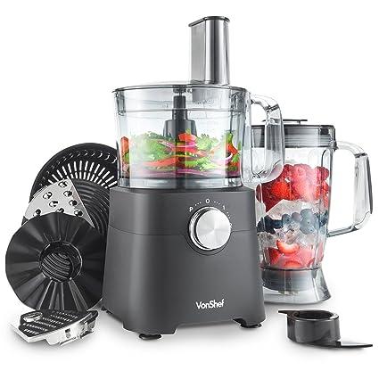Vonshef Robot Multifonction 750w Robot De Cuisine Avec Blender Mixeur Centrifugeuse Lame De Petrissage Hachoir Bol De 1 2 L Et Pichet De 1 8 L