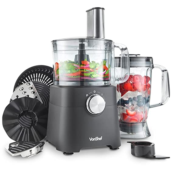 VonShef Procesador de Alimentos 750 W - Licuadora, Picadora, Exprimidor, Multi Mezclador con Cuchilla para Masa, Trituradora y Accesorio para Rallar: ...
