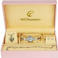 Cofanetto regalo con orologio da donna, parure di gioielli, collana, anello, orecchini, bracciale