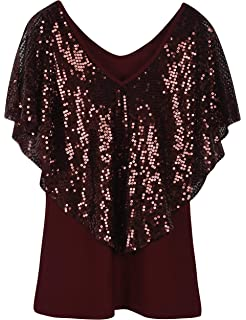 2a685d633923ab PrettyGuide Women's Tunic Tops Sequin Overlay Cold Shoulder Glitter  Cocktail Party Blouse Top