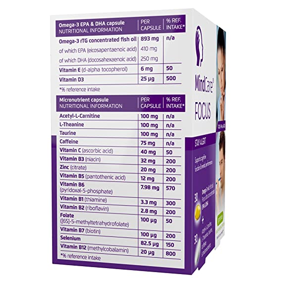 MindCare FOCUS,permanezca alerta,suplemento alimenticio con aceite de pescado salvaje omega-3 de alta intensidad, Acetilcarnitina, L-teanina, taurina, ...