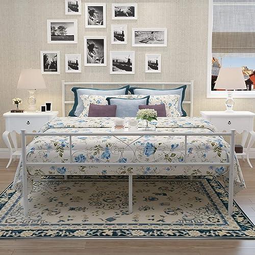 SimLife Full Size White Bedframe Metal Bed Frame