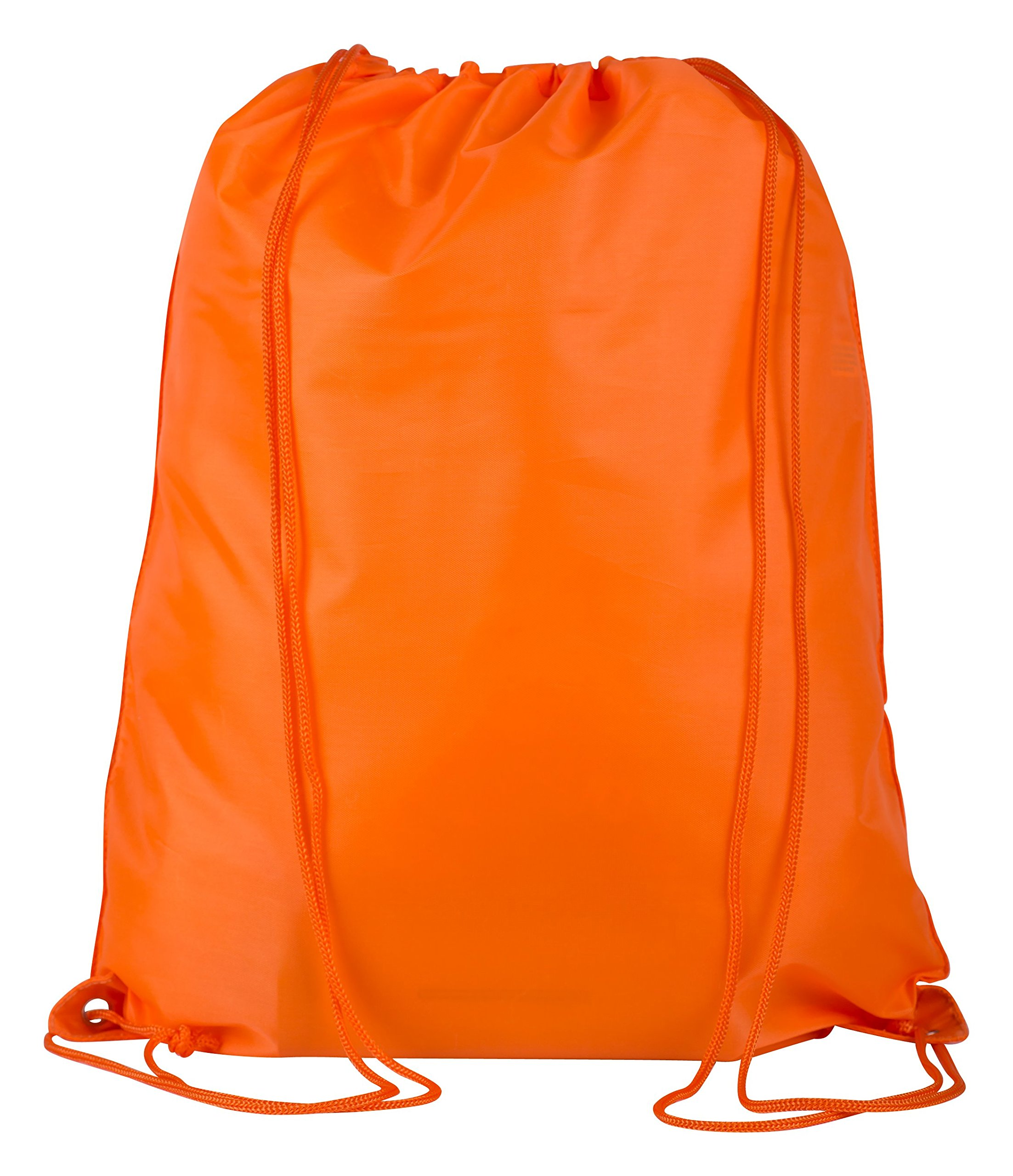 Promotional Polyester Drawstring Bag 12-Pack - Comfortable & Stylish Backpack Sack With Adjustable Straps, Great For DIY Projects, Brand Promotions, Gyms, Schools (Large (17''W x 20''H), ORANGE)