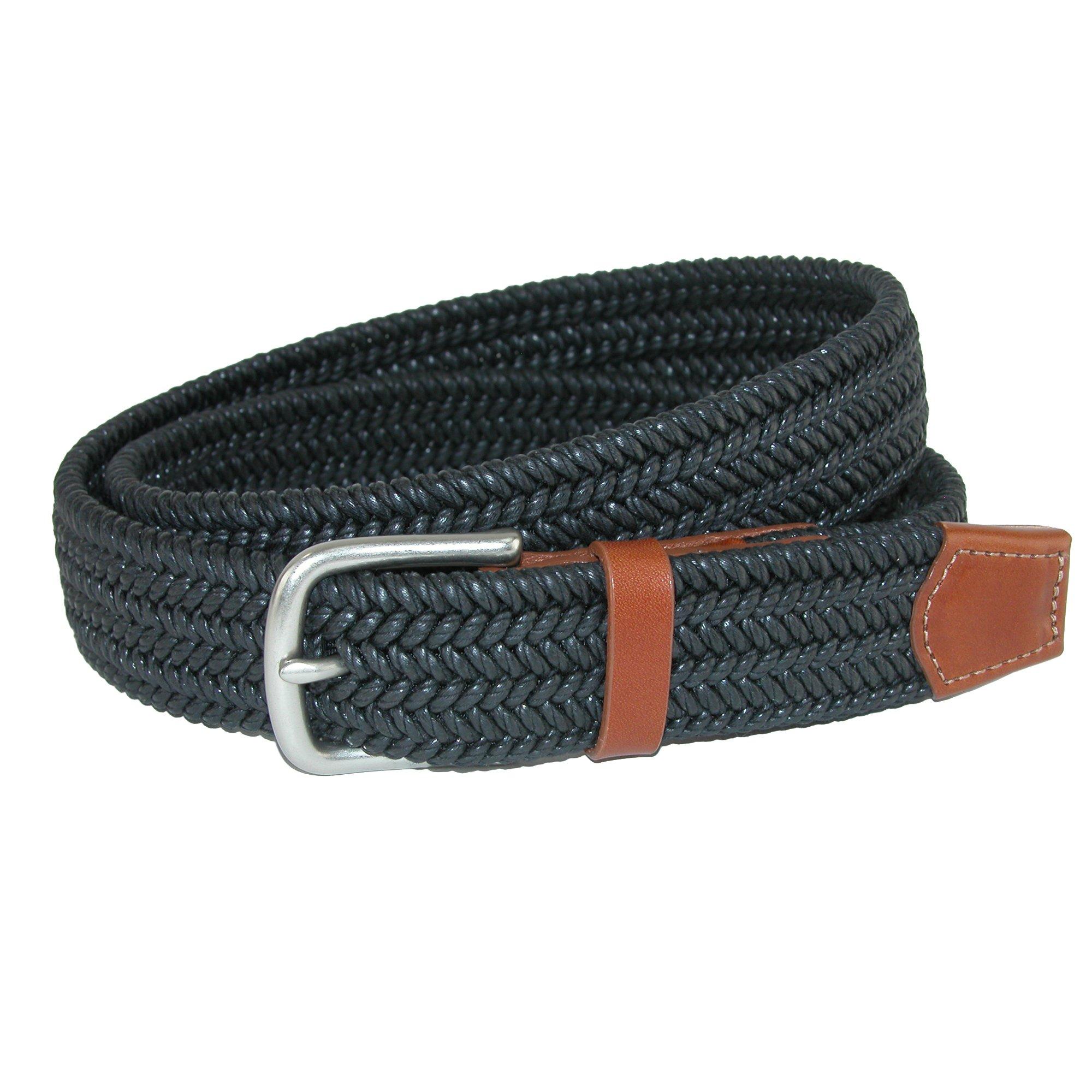 CrookhornDavis Men's Boca Braided Waxed Cotton Stretch Belt, 46, Black