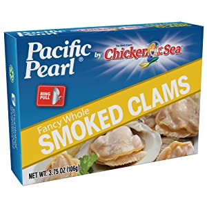 Pacific Pearl Baby Smoked Clams, 3.75-Ounce Cans (Pack of 12)