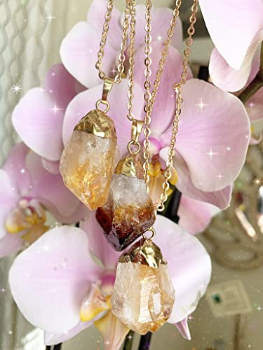 raw clear quartz crystal geode with citrine on necklace