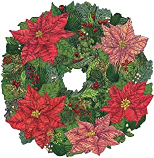 product image for Hester and Cook Die-Cut Poinsettia Wreath Table Placemat