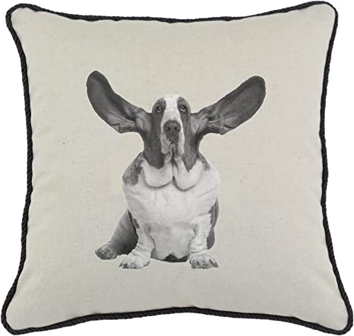 Spice Home D cor Graphics Dog Linen and Cotton Blend Throw Pillow, Basset Hound, 17-Inch