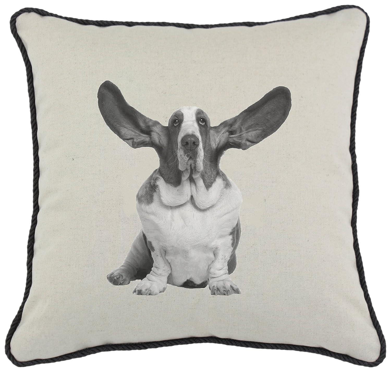 Spice Home Décor Graphics Dog Linen and Cotton Blend Throw Pillow, Basset Hound, 17-Inch