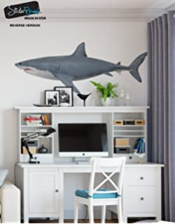 Great White Shark Wall Decal Peel And Stick Giant Life Size Graphic Sticker  19in Tall X