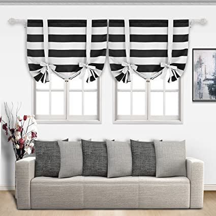Deconovo Striped Blackout Curtains Rod Pocket Black And Greyish White Tie Up Window Drapes