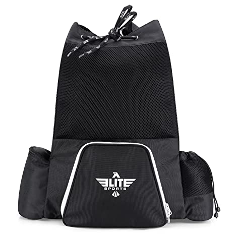 ca46a84a4fa0c Elite Sports Black Mesh MMA, BJJ, Gear Gym Drawstring Backpack