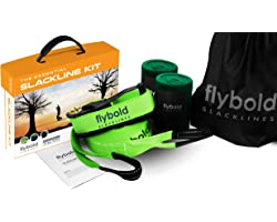 Slackline Kit Slack Line Longer 57 ft Line with Tree Protectors and Carry Bag Tight Rope Slack Lines for Backyard for Kids an