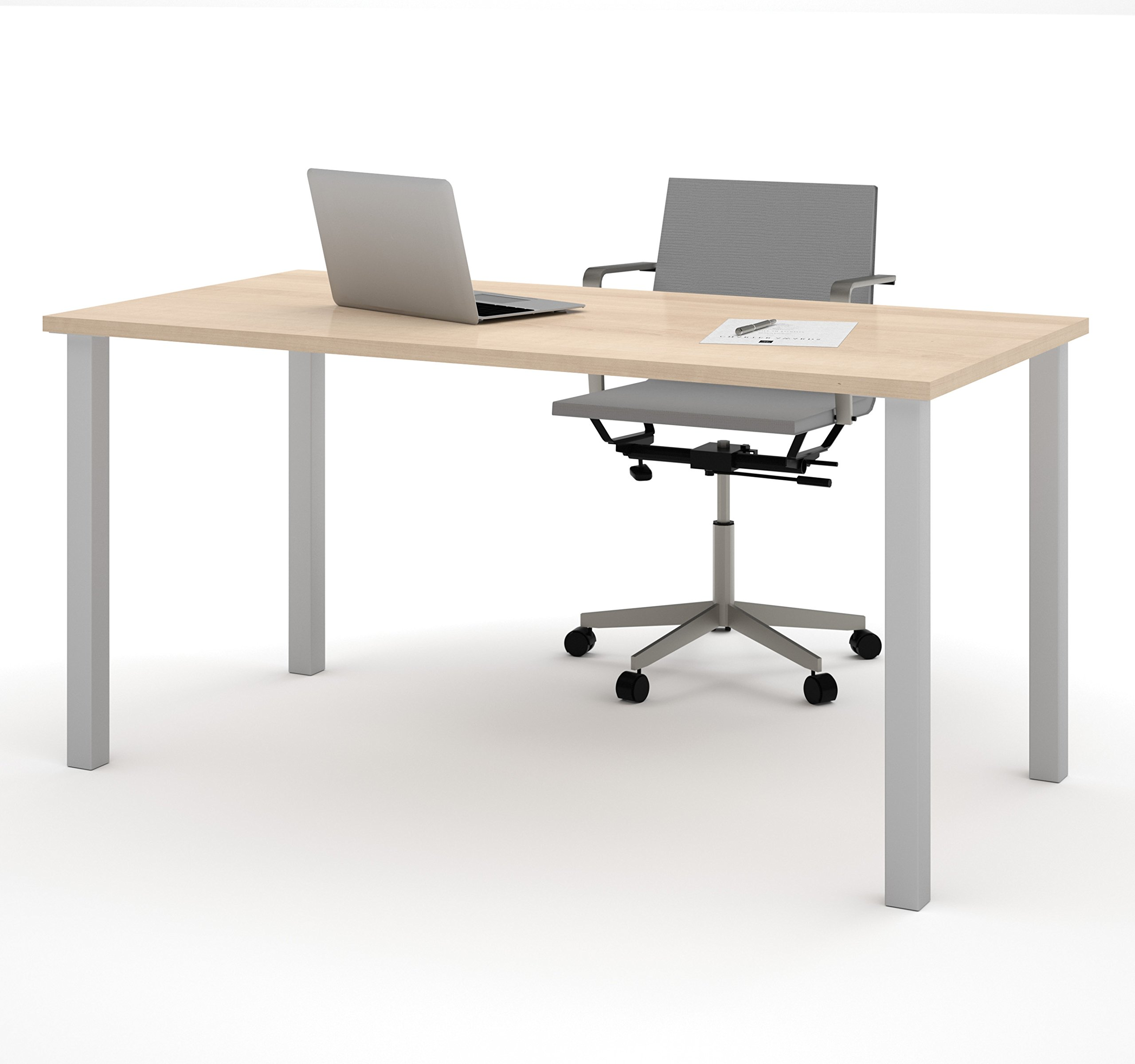 BESTAR Table with Square Metal Legs, 30 x 60'', Northern Maple