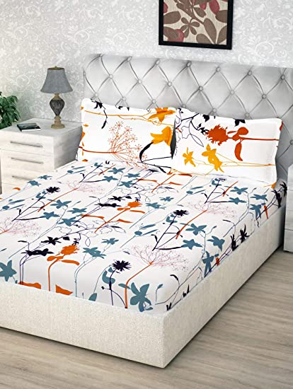 40b2a7dab06 Story Home 100% Cotton Double Bedsheet With 2 Pillow Covers Combo ...