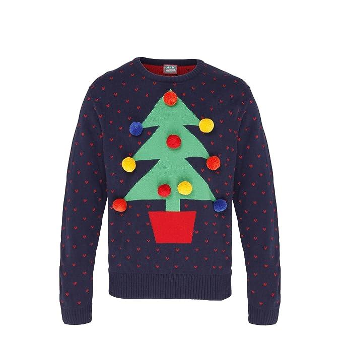 Christmas Shop , Maglione Natalizio con Albero di Natale e Pompons ,  Adulti/Unisex (M) (Navy/Rosso/Verde) Amazon.it Abbigliamento