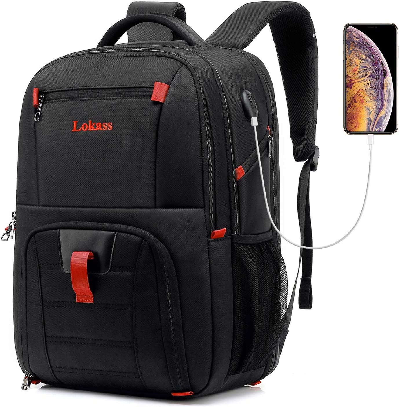 "17/"" Laptop Computer Backpack Travel Business College Bag USB Charging Port Gray"