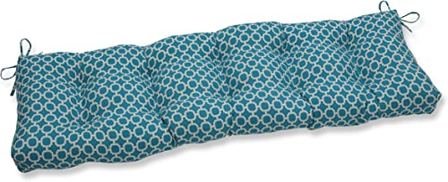 Pillow Perfect Outdoor/Indoor Hockley Teal Tufted Bench/Swing Cushion