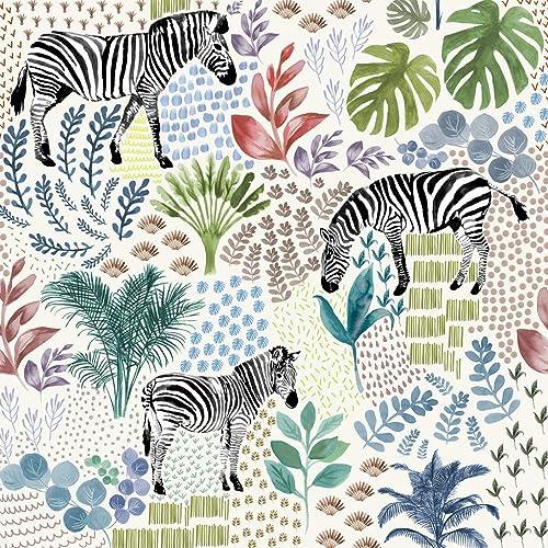 Zebra Safari Tropical Print Wallpaper Amazoncouk