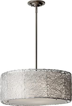 Feiss F2702 3BS Wired Fabric Shade Drum Pendant Lighting, Satin Nickel, 3-Light 20 W x 8 H 300watts