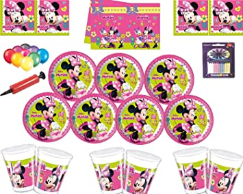 Disney Minnie Mouse Party Decoration Set-Platos Tazas Servilletas Mantel con Globos Gratis Velas Bombas de Globos-Sirve para 16 Invitados