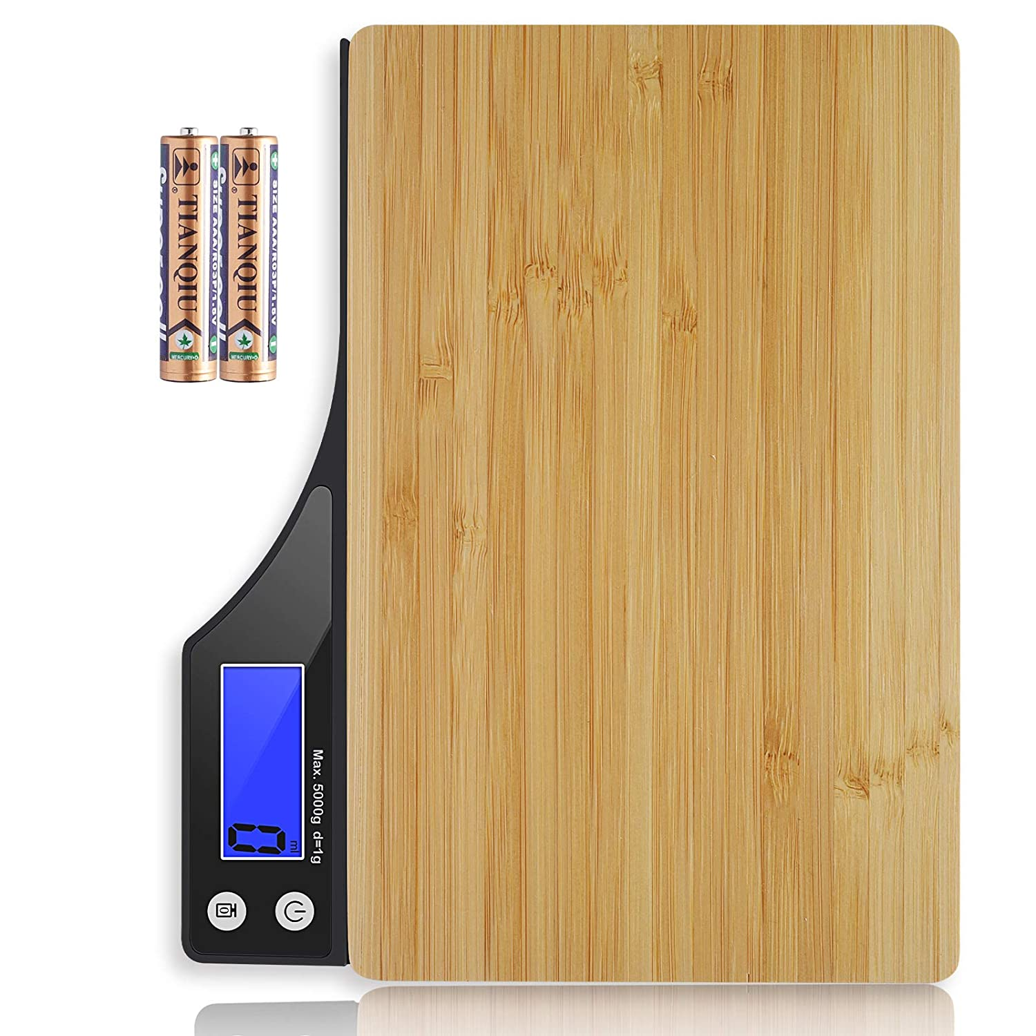Raindon Food Scale, 11lb Digital Kitchen Scale for Baking and Cooking, 1g/0.1oz Precise Graduation, Weight Grams and Oz, Bamboo (Batteries Included)