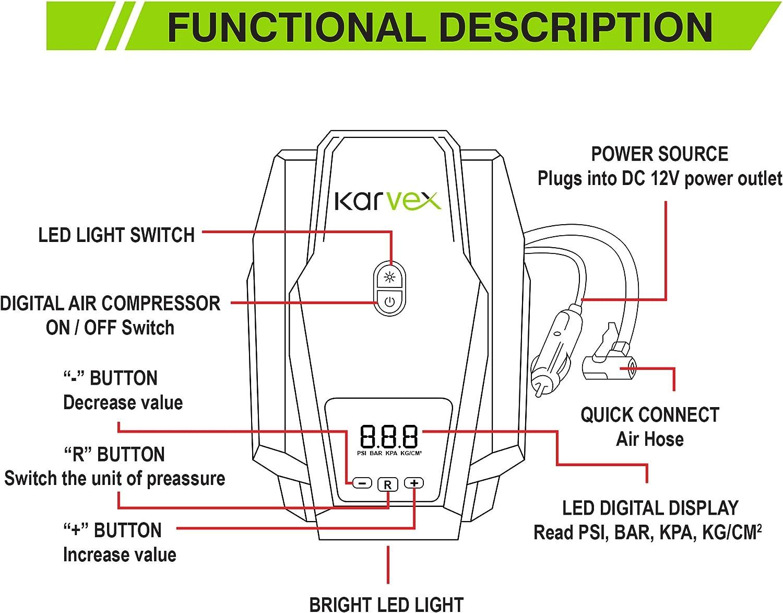 Bomba compresora de aire digital portátil de 150 PSI 12 V ...