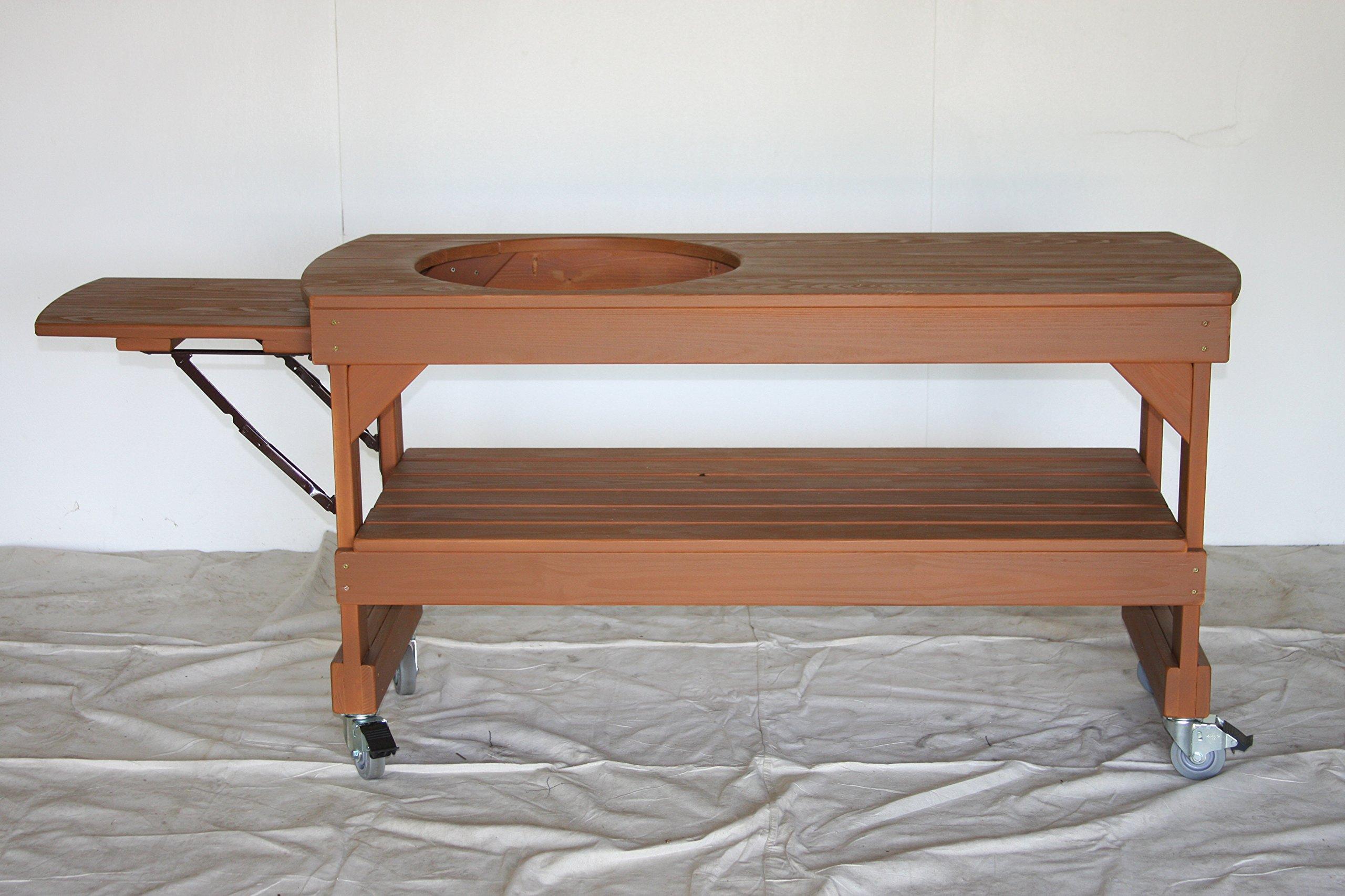 J S Designs Shop, LLC Big Green Egg Long Cypress Table for Large BGE Grill with Free Drop Leaf Shelf by J S Designs Shop, LLC