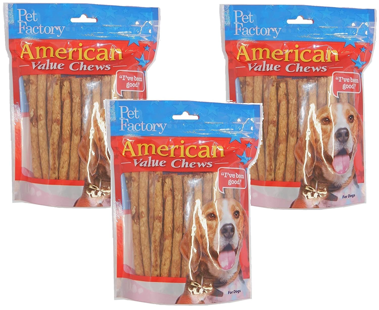 Pet Factory Chicken Dog Roll, 120 Total 3 Packs with 40 Rolls per Pack