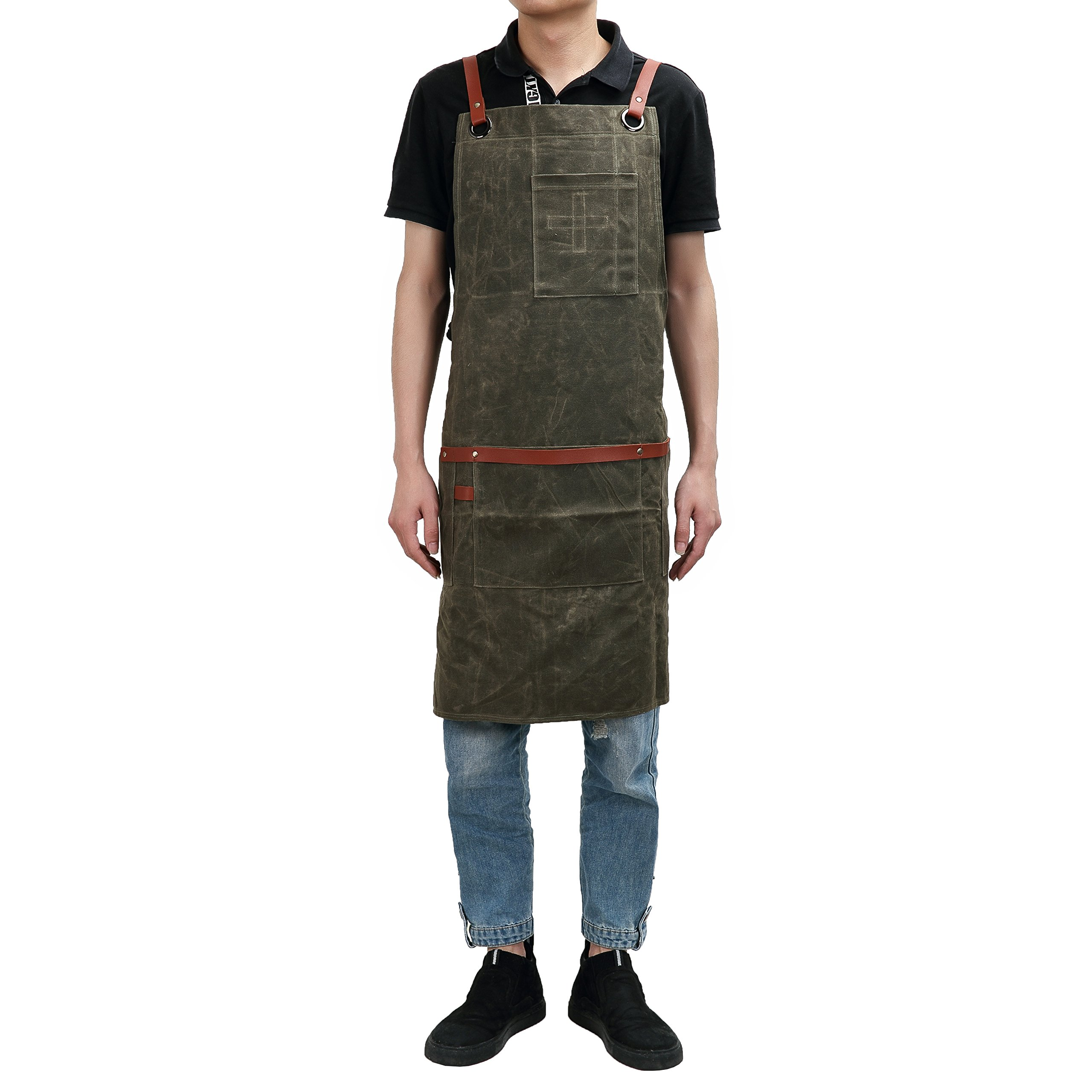QEES Heavy Duty Waxed Canvas Workman Apron Large Pockets Utility Work Apron for Engineers Carpenter Handymen Fit Kitchen, Garden, Pottery, Craft Workshop, Garage WQ32