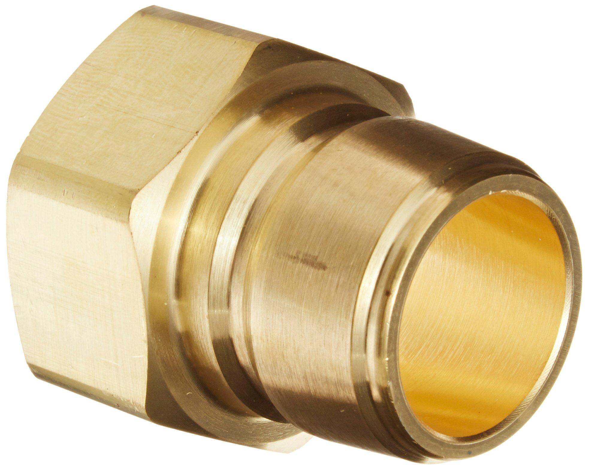Eaton Hansen B10T41 Brass Straight Through Ball Lock Hydraulic Fitting, Plug, 1-1/4''-11-1/2 NPTF Female, 1-1/4''Port Size, 1-1/4''Body