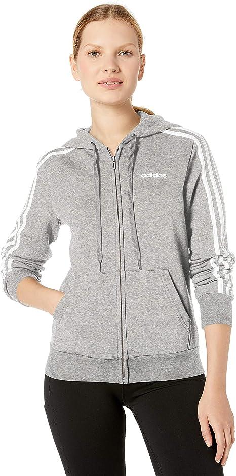 adidas Damen Reißverschluss, Sweatshirt Essentials 3 Stripes Fleece Full Zip Hoodie Sweatshirt