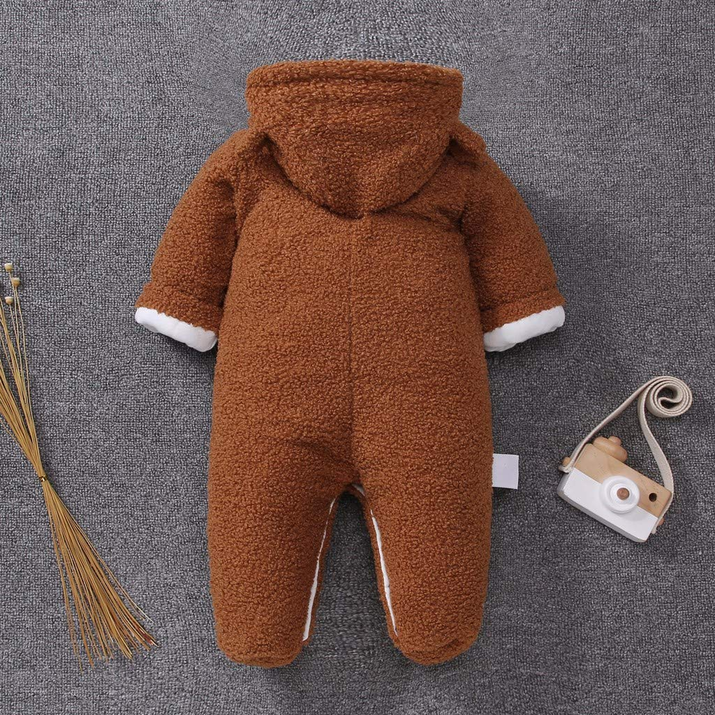 Moonker-Baby Tops Newborn Infant Boys Girls Winter Warm Snowsuit Romper Bear Zip Thick Hoodie Coat Jumpsuit for 3-12 Months