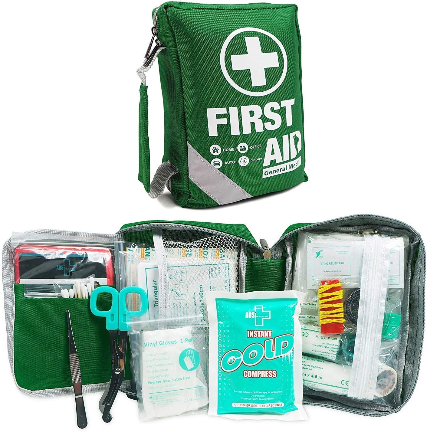 First Aid Kit Compact First Aid Bag 175 Piece Includes 2 X Eyewash Instant Cold Pack Emergency Blanket Cpr Respirator For Home Office Vehicle Camping Workplace Outdoor Health Personal Care Amazon Com