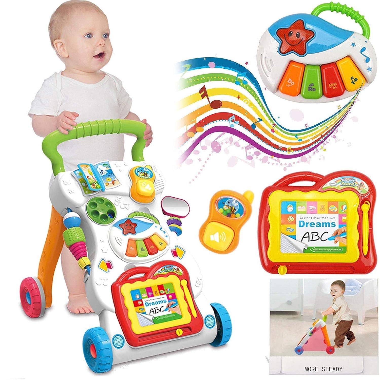 kinshops unidad carro Andador Baby Walker con música 70Canciones Pizarra Mágica luces parte carro juguete gehfrei Andador